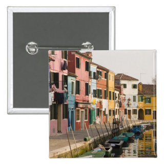 Italy, Burano. Colorful houses of line a 15 Cm Square Badge