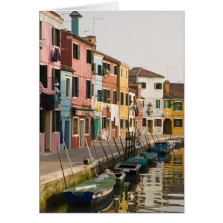 Italy, Burano. Colorful houses of line a Card
