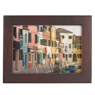 Italy, Burano. Colorful houses of line a Keepsake Box
