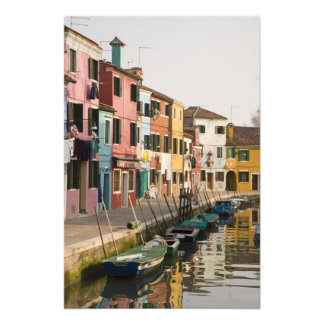 Italy, Burano. Colorful houses of line a Photo Print