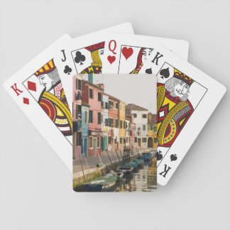 Italy, Burano. Colorful houses of line a Poker Deck