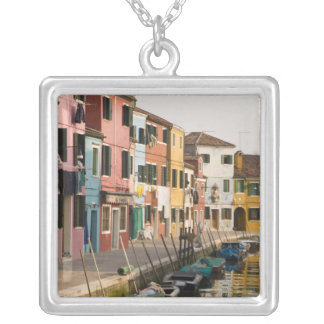 Italy, Burano. Colorful houses of line a Silver Plated Necklace
