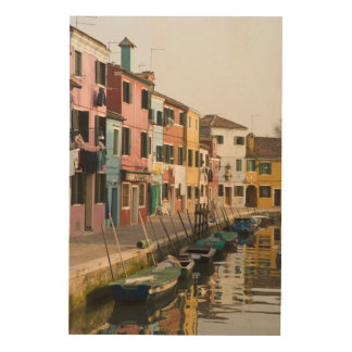 Italy, Burano. Colorful houses of line a Wood Wall Art