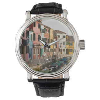 Italy, Burano. Colorful houses of line a Wrist Watches