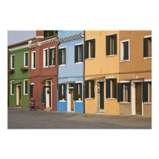 Italy, Burano. Colorful row of homes and empty Photographic Print