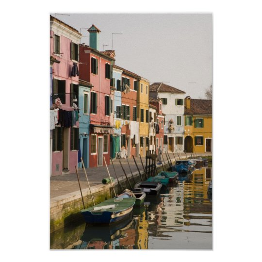 Italy, Burano. Colourful houses of line a Poster