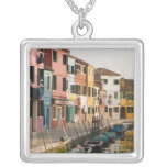 Italy, Burano. Colourful houses of line a Silver Plated Necklace