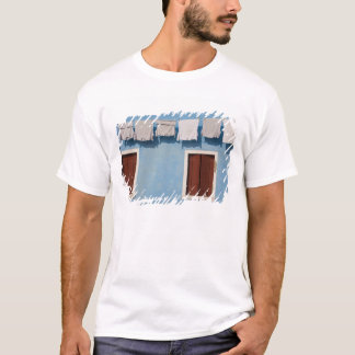 Italy, Burano. Hanging laundry and windows along T-Shirt