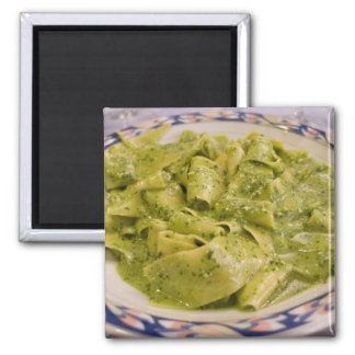 Italy, Camogli. Plate of pasta with pesto Square Magnet