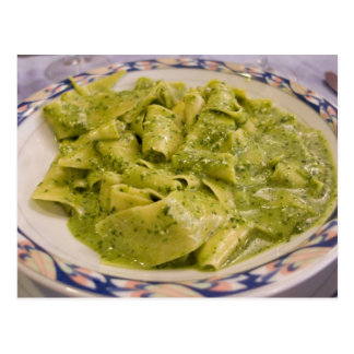 Italy, Camogli. Plate of pasta with pesto Postcard