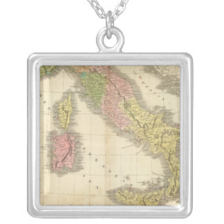 Italy Chonology Atlas Map Silver Plated Necklace