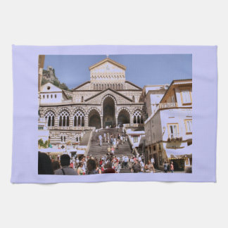Italy, Church on the Amalfi coast Tea Towel