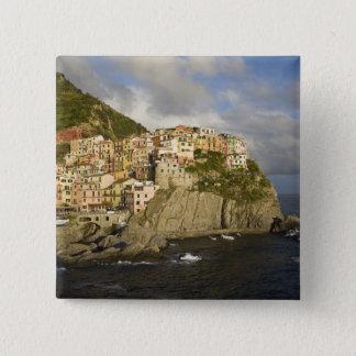 Italy, Cinque Terre, Manarola. Village on cliff. 15 Cm Square Badge