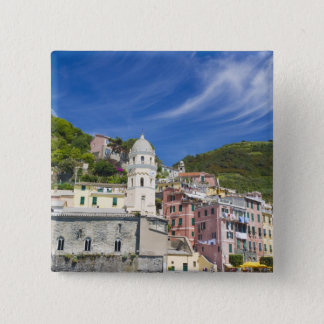 Italy, Cinque Terre, Vernazza, Harbor and Church 15 Cm Square Badge