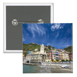 Italy, Cinque Terre, Vernazza, Harbor and Church 2 15 Cm Square Badge