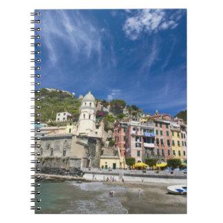 Italy, Cinque Terre, Vernazza, Harbor and Church 2 Notebook