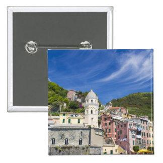 Italy, Cinque Terre, Vernazza, Harbor and Church 15 Cm Square Badge