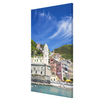 Italy, Cinque Terre, Vernazza, Harbor and Church Canvas Print