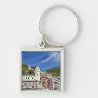 Italy, Cinque Terre, Vernazza, Harbor and Church Key Ring