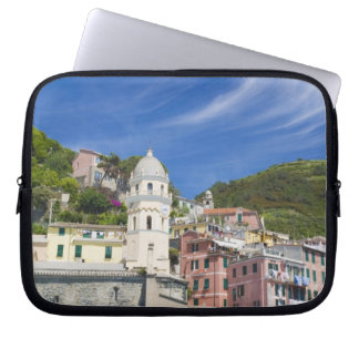 Italy, Cinque Terre, Vernazza, Harbor and Church Laptop Sleeve