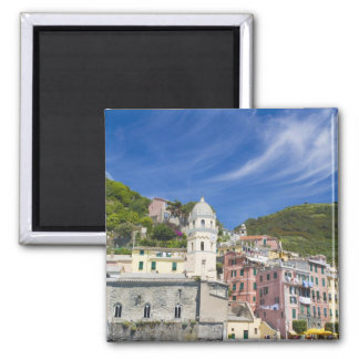 Italy, Cinque Terre, Vernazza, Harbor and Church Magnet