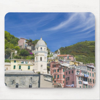 Italy, Cinque Terre, Vernazza, Harbor and Church Mouse Mat