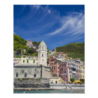 Italy, Cinque Terre, Vernazza, Harbor and Church Poster