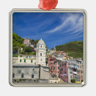 Italy, Cinque Terre, Vernazza, Harbor and Church Silver-Colored Square Decoration