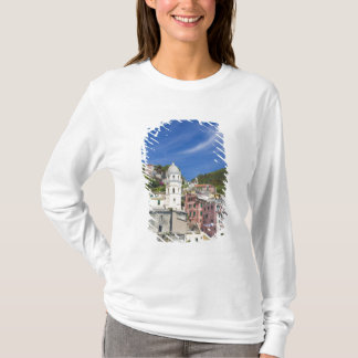 Italy, Cinque Terre, Vernazza, Harbor and Church T-Shirt