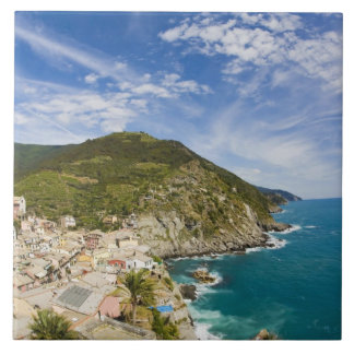 Italy, Cinque Terre, Vernazza, Hillside Town of 2 Tile