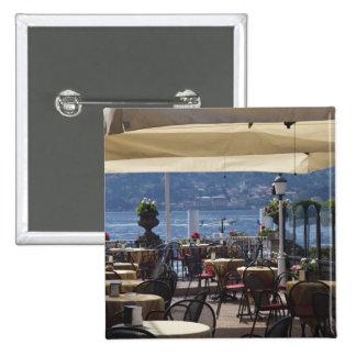Italy, Como Province, Bellagio. Lakeside cafe. 15 Cm Square Badge