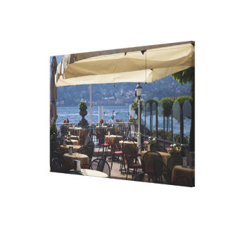Italy, Como Province, Bellagio. Lakeside cafe. Stretched Canvas Print