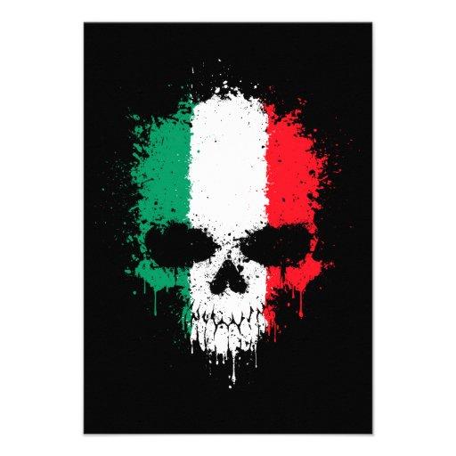 Italy Dripping Splatter Skull Custom Invites