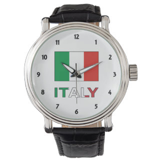 Italy Flag and Word Watch