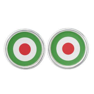 Italy Flag Design Round Cufflinks, Silver Plated Cufflinks