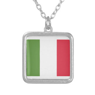 Italy Flag Emoji Twitter Silver Plated Necklace