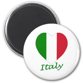 Italy Flag Heart 6 Cm Round Magnet