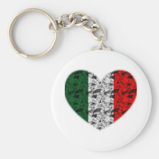 Italy Flag Heart Basic Round Button Key Ring