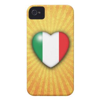 Italy Flag Heart on sunburst background iPhone 4 Cover