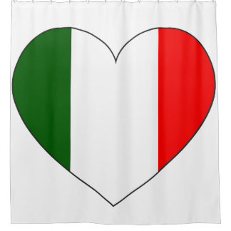 Italy Flag Heart Shower Curtain