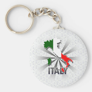 Italy Flag Map 2.0 Basic Round Button Key Ring