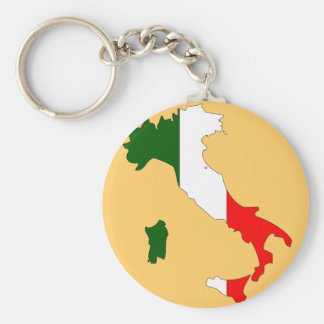 Italy flag map basic round button key ring