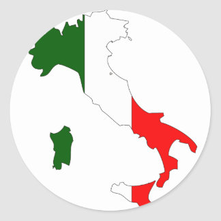Italy flag map classic round sticker