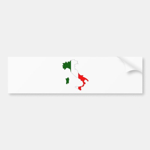 Italy Flag Map full size Bumper Sticker