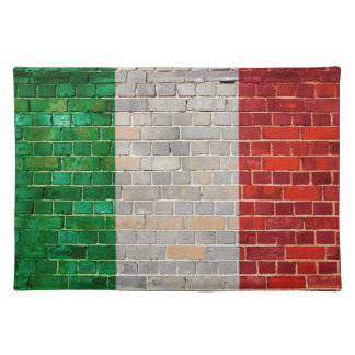 Italy flag on a brick wall placemat