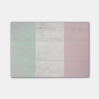 Italy Flag on Old Wood Grain Post-it® Notes