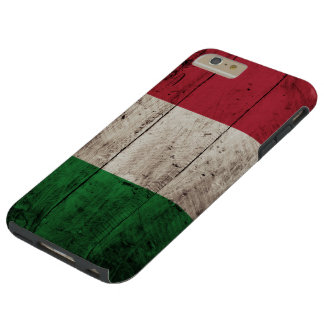 Italy Flag on Old Wood Grain Tough iPhone 6 Plus Case