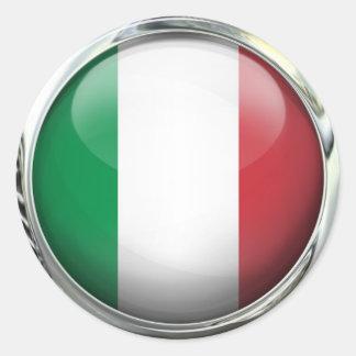 Italy Flag Round Glass Ball Round Sticker