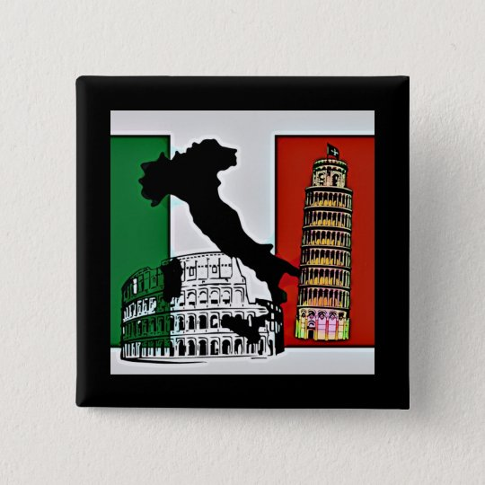 Italy - Flag, Silhouette, Tower, and Colosseum 15 Cm Square Badge