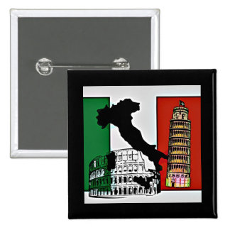 Italy - Flag, Silhouette, Tower, and Colosseum Buttons